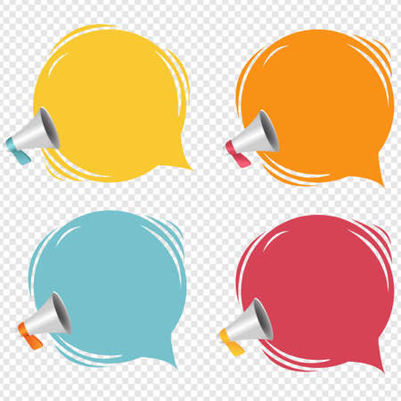 Megaphone With Speech Bubble Isolated Transparent Background With Gradient Mesh, Vector Illustration 版權商用圖片 - 154920547