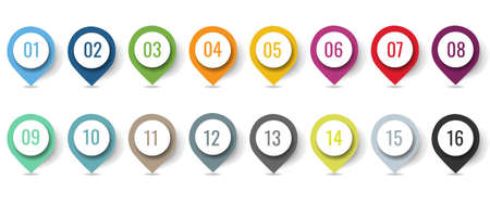 Colorful Location Pin Set Isolated With White Background With Gradient Mesh, Vector Illustration