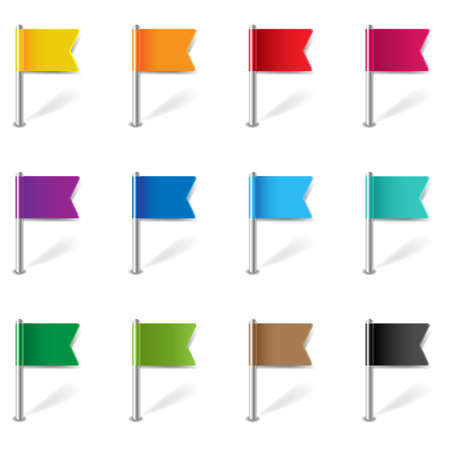Location Pin Flags Set Isolated White Background Gradient Mesh, Vector Illustration
