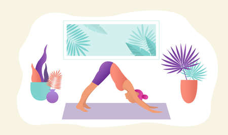 Sportive Young Woman Doin Yoga With Gradient Mesh, Vector Illustration