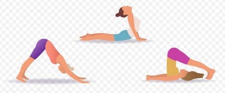 Sportive Young Womans Doin Yoga Transparent Background With Gradient Mesh, Vector Illustration