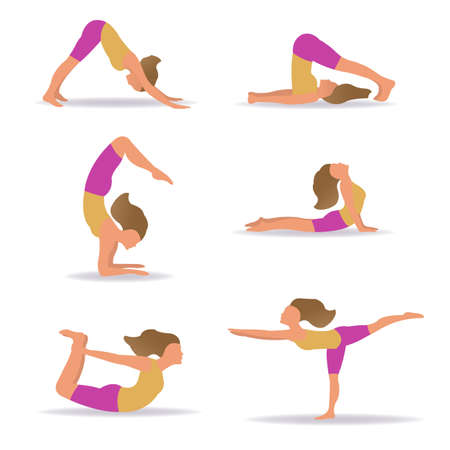 Set Of Slim Sportive Young Woman Doin Yoga With Gradient Mesh, Vector Illustration