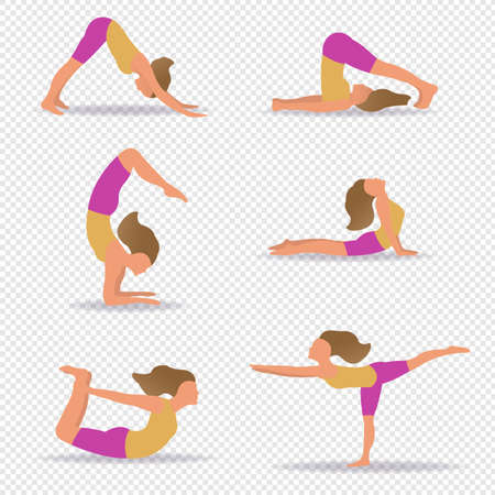 Set Of Slim Sportive Young Woman Do in Yoga Transparent Background With Gradient Mesh, Vector Illustration