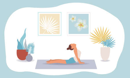 Young Woman Doin Yoga With Flowers With Gradient Mesh, Vector Illustration