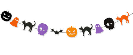 Happy Halloween Bunting Flags Isolated White Background, Vector Illustration