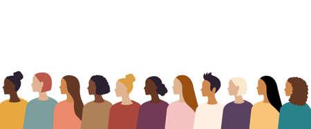 Different Women Border Isolated White Background, Vector Illustration Ilustrace