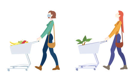 Two Woman Is Carrying A Grocery Cart Transparent Background, Vector Illustration 向量圖像
