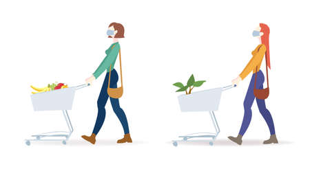 Two Woman In Mask Is Carrying A Grocery Cart White Background With Gradient Mesh, Vector Illustration 向量圖像