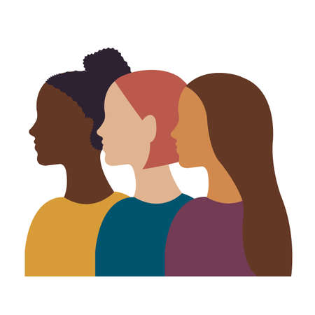 Different Ethnicity Women Poster Isolated, Vector Illustration