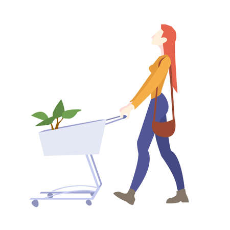 Woman Is Carrying A Grocery Cart, Vector Illustration 向量圖像