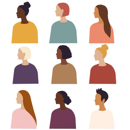 Different Ethnicity Women Poster Isolated White Background, Vector Illustration 向量圖像
