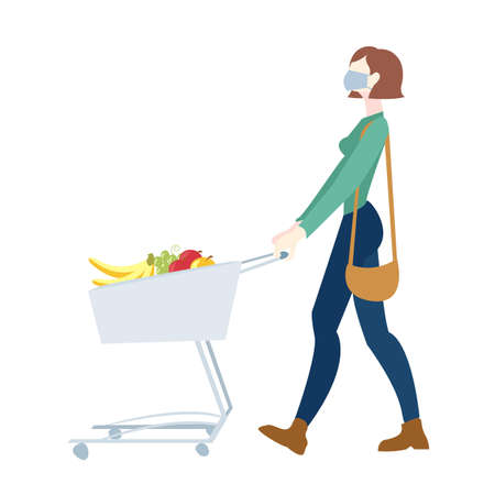 Woman In Mask Is Carrying A Grocery Cart White Background, Vector Illustration