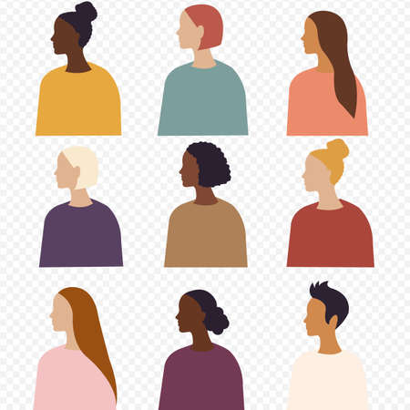 Different Ethnicity Women Poster Isolated Transparent Background, Vector Illustration