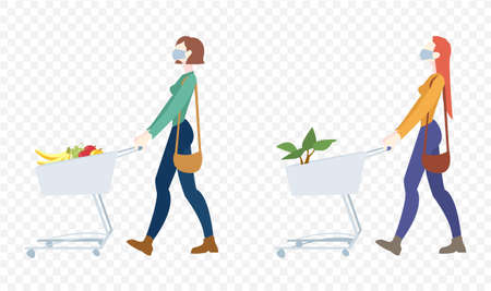 Two Woman In Mask Is Carrying A Grocery Cart Transparent Background, Vector Illustration 向量圖像