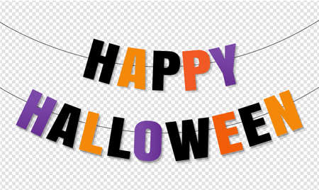 Happy Halloween Bunting Flags Isolated Transparent Background, Vector Illustration