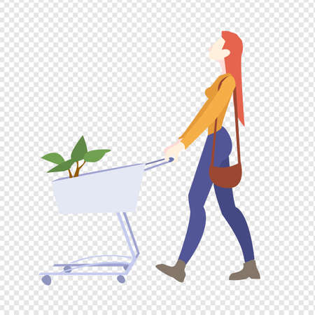 Woman Is Carrying A Grocery Cart Transparent Background, Vector Illustration
