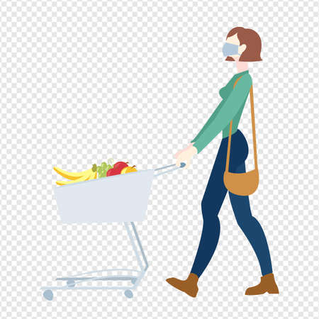 Woman In Mask Is Carrying A Grocery Cart Transparent Background, Vector Illustration