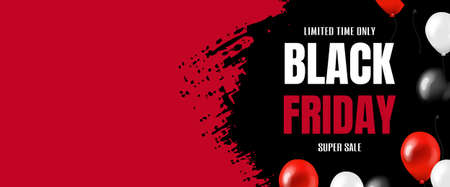Black Friday Big Sale Banner With Balloons With Gradient Mesh, Vector Illustration
