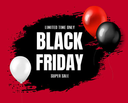 Black Friday Super Sale Poster With Gradient Mesh, Vector Illustration