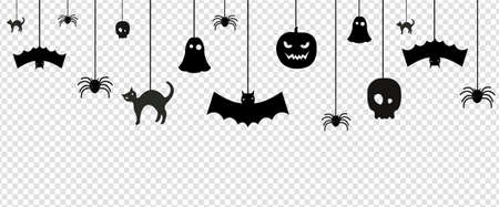 Halloween Bunting Flags Isolated White Background, Vector Illustration 向量圖像