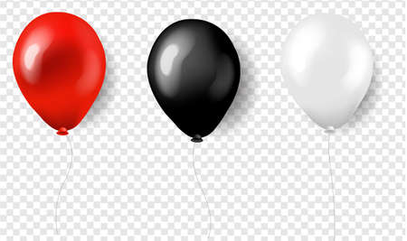 Three Balloons Red White And Black Silk With Gradient Mesh, Vector Illustration