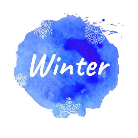 Winter Text With Blue Blot, Vector Illustration 向量圖像