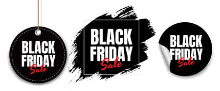 Black Friday Labels Set White Background With Gradient Mesh, Vector Illustration