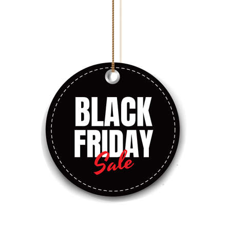 Black Friday Sale Tag Isolated White Background With Gradient Mesh, Vector Illustration