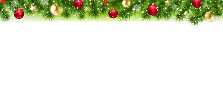 Fir Tree Border With White Background With Gradient Mesh, Vector Illustration 向量圖像