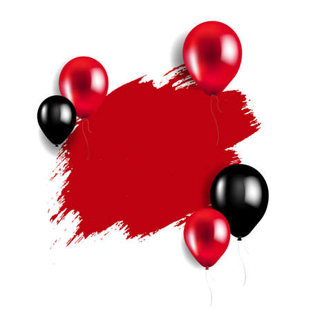 Sale Poster With Red And Black Balloons With Gradient Mesh, Vector Illustration 向量圖像