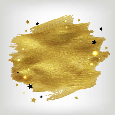 Poster With Golden Paint With Stars With Gradient Mesh, Vector Illustration