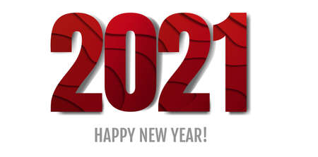 Happy New Year Text White Background With Gradient Mesh, Vector Illustration