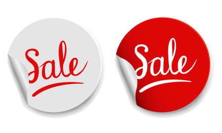 Red And White Labels White Background With Gradient Mesh, Vector Illustration 版權商用圖片