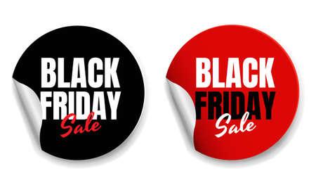 Black Friday Labels White Background With Gradient Mesh, Vector Illustration 版權商用圖片