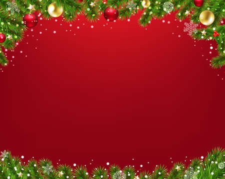 Xmas Border With Fir Tree Red Background With Gradient Mesh, Vector Illustration