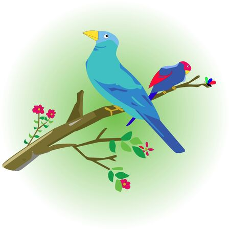 doodle bird perched on a branch with small flowers around