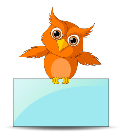 Cute Owl with Board Vector