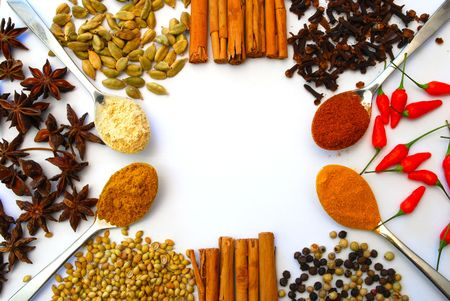 curry powder: various spices and spoons in a pattern Stock Photo