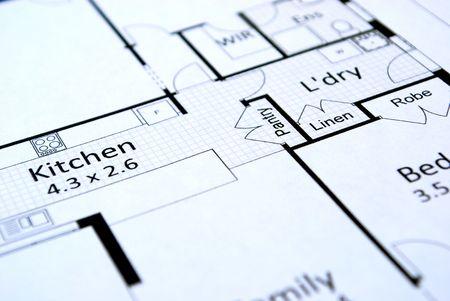 家の計画のクローズ アップ