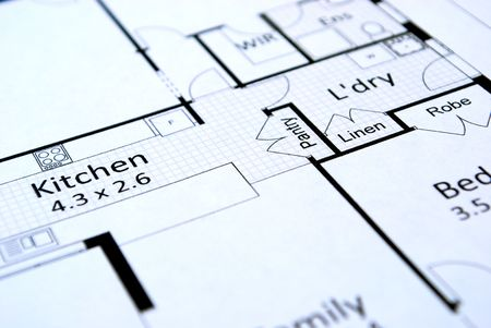 close up of house plans Stock Photo