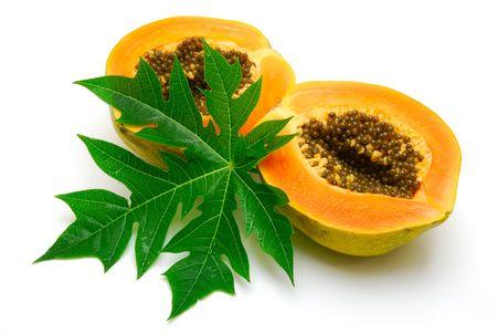 papaya  and leaf  isolated