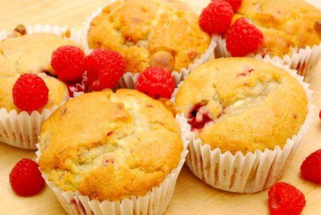 homemade raspberry muffins Stock Photo