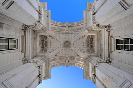 baixa: Rua Augusta Arch in Lisbon Stock Photo