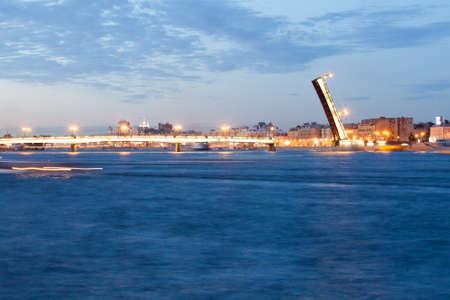 nights: Beautiful view of the drawn Liteyny Bridge in St. Petersburg in the white nights
