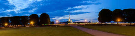 Night view of the Peter and Paul Fortress, St. Petersburg, Russia