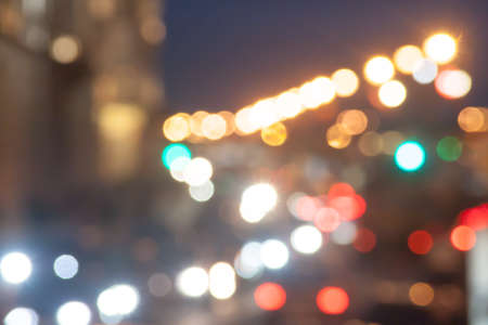 jams: indistinct background in a look the avtomobidnykh of jams in the city in night Stock Photo