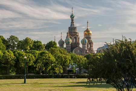leningrad: Summer view of the Field of Mars nd Church of the Savior on Spilled Blood y, Russia Stock Photo
