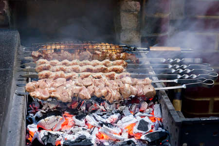 coals: the shish kebab which is fried on coals in a brazier