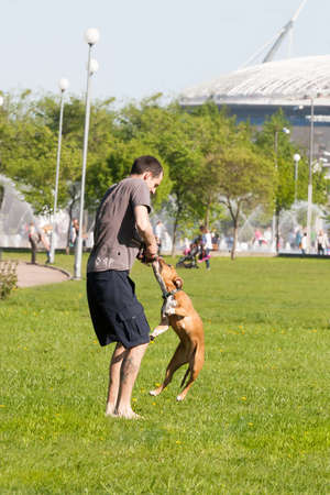 Sankt-Petereburg, Russia - May 15 2016: the man plays in park with a dog. In St. Petersburg in parks many people walk with the pets