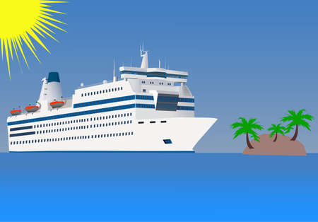 cruise liner: the white cruise liner floats by sea by the island